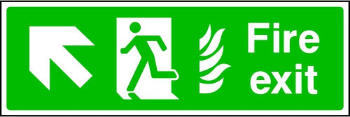 NHS Fire Exit Arrow Up Left Sign