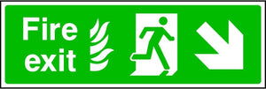 NHS Fire Exit Arrow Down Right Sign