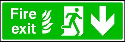 NHS Fire Exit Arrow Down Sign