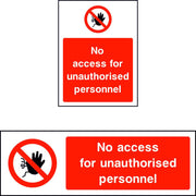 No Access for Unauthorised Personnel sign