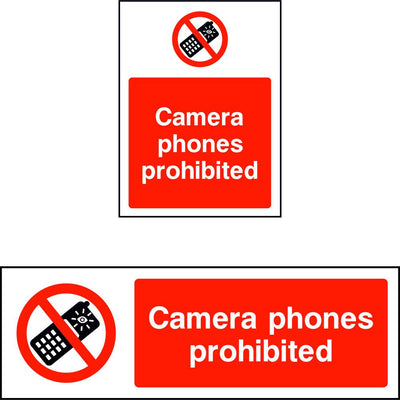 Camera phones prohibited safety sign