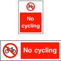 No cycling safety sign