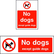 No dogs except guide dogs safety sign