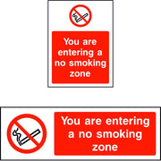 You are entering a no smoking zone safety sign