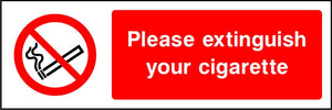 Please extinguish your cigarette sign