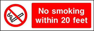 No smoking with 20 feet sign