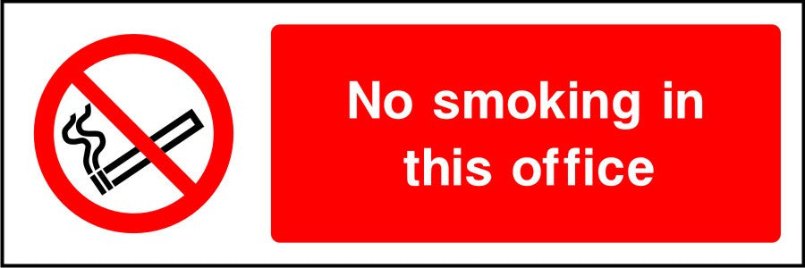 No smoking in this office sign