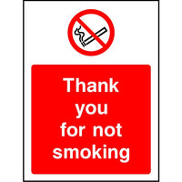 Thank you for not smoking safety sign