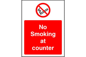 No smoking at counter safety sign