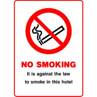 No Smoking It is against the law to smoke in this hotel sign