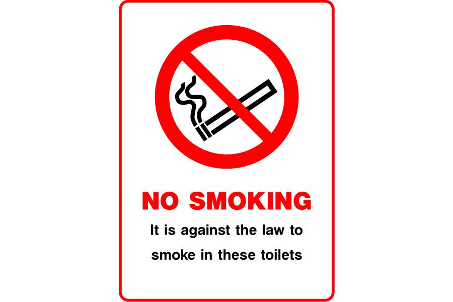 No Smoking It is against the law to smoke in these toilets sign