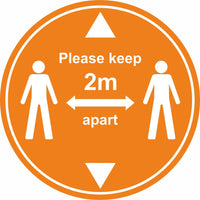 Orange keep 2m apart with arrows floor sign