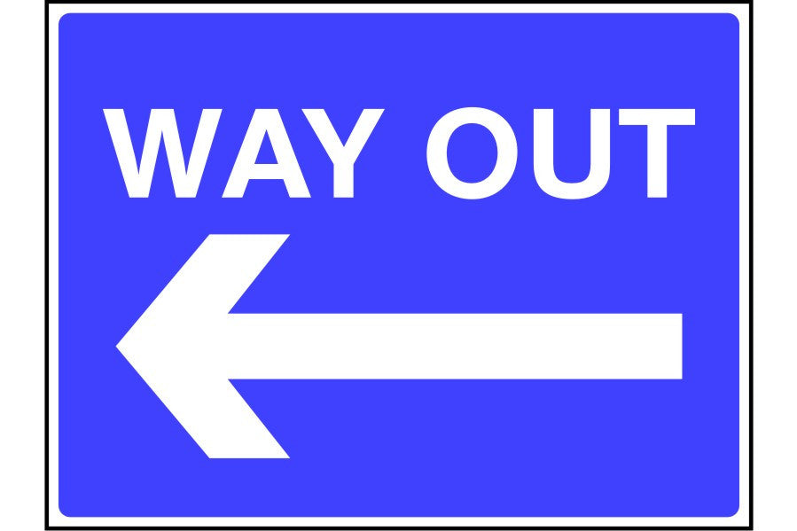 Way Out arrow left sign