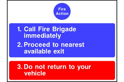 Car Park Fire Notice sign