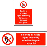 Smoking or naked lights positively forbidden beyond this point sign
