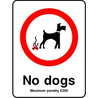 No dogs penalty sign