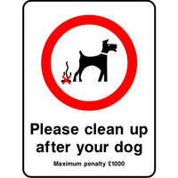 Please clean up after your dog penalty sign