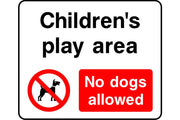 Childrens play area no dogs allowed safety sign