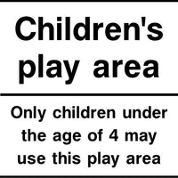 Childrens play area under 4s sign
