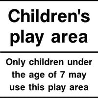Children's play area with age restriction sign