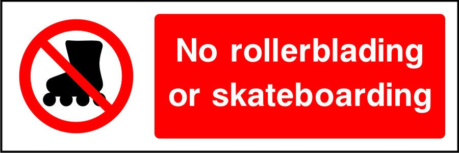 No rollerblading or skateboarding sign