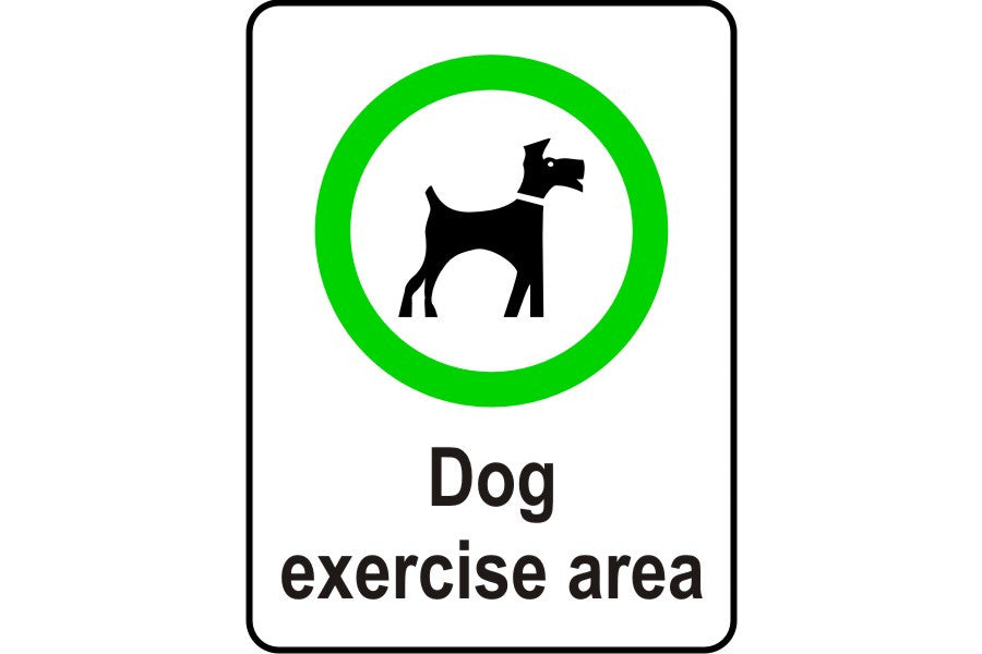 Dog excercise area sign