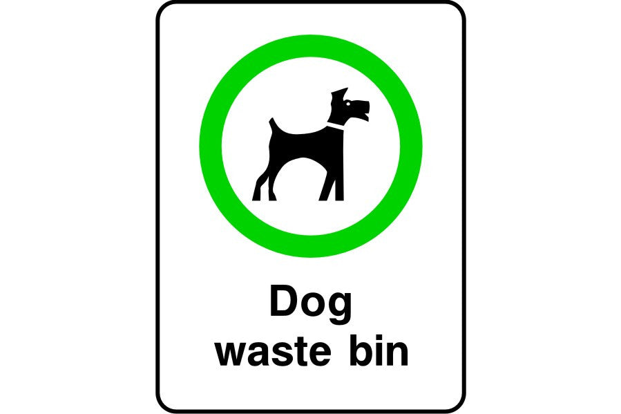 Dog waste bin sign