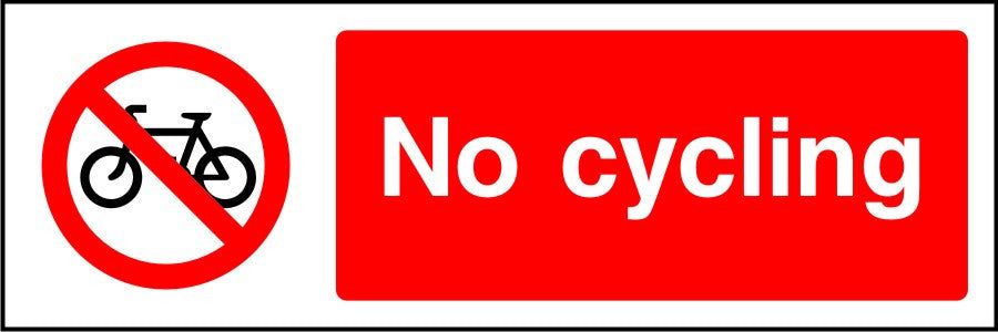 No cycling park safety sign