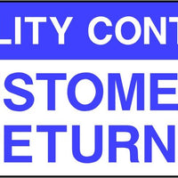 Quality Control Customers Returns Labels