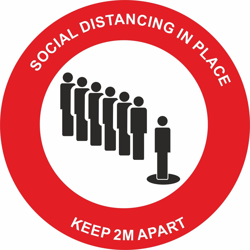 Red Social Distancing in place Keep 2m apart Floor Sign
