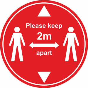 red Keep 2m apart with arrows floor sign