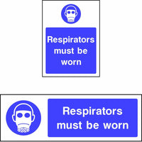 Respirators must be worn safety sign