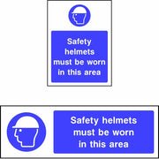 Safety helmets must be worn in this area safety sign