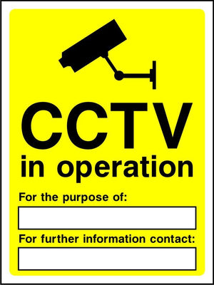 CCTV in operation with contact details sign