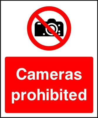 Cameras prohibited security sign