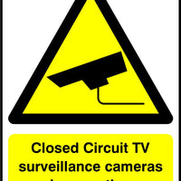 Closed Circuit TV surveillance cameras in operation sign