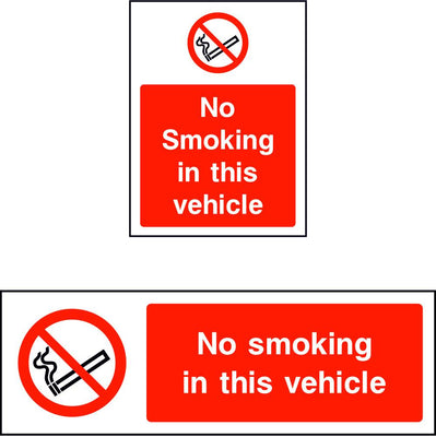 No smoking in this vehicle safety sign