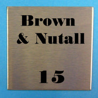 Engraved Stainless Steel Label 150mm x 150mm