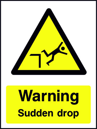 Warning Sudden Drop sign