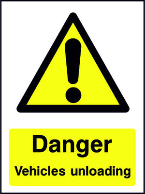 Danger Vehicles Unloading sign