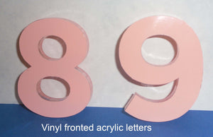 "14"" vinyl fronted acrylic letters"