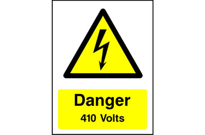 Danger 410 Volts safety sign