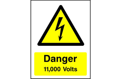 Danger 11,000 Volts safety sign