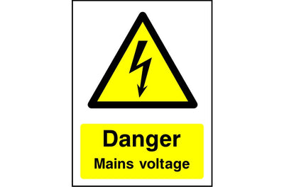 Danger Mains Voltage safety sign