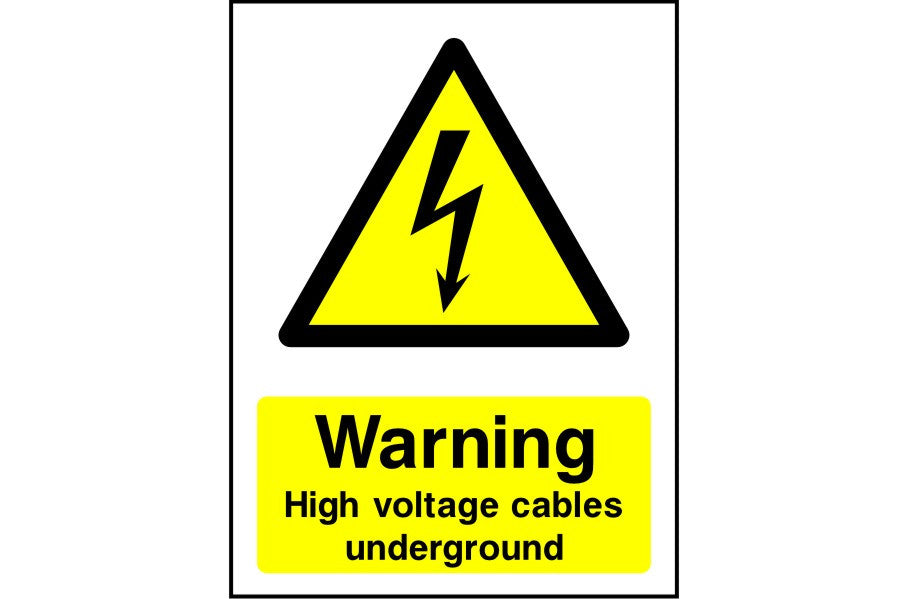 Warning High Voltage Cables Underground safety sign