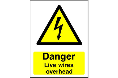 Danger Live Wires Overhead safety sign