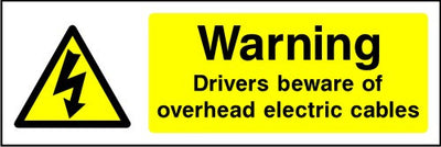 Warning Drivers Beware of Overhead Electric Cables sign