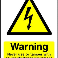 Never Tamper with Faulty Electrical Equipment sign