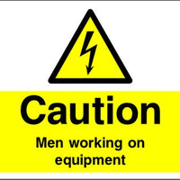 Caution Men Working on Equipment safety sign
