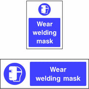 Wear welding mask safety sign